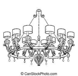 Vintage Baroque Elegant chandelier. Vector Luxury Royal Rich...
