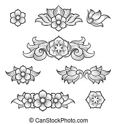 Vintage baroque engraving floral elements