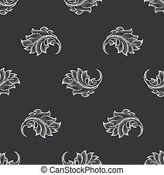 Vintage baroque engraving floral pattern