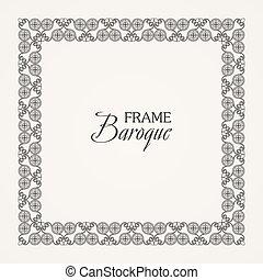 Vintage baroque floral frame. Vector black and white