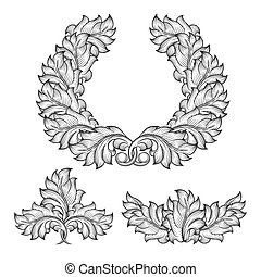 Vintage baroque floral leaf scroll ornament engraving frame element