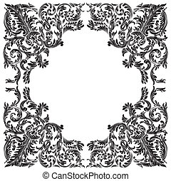 baroque frame on white background