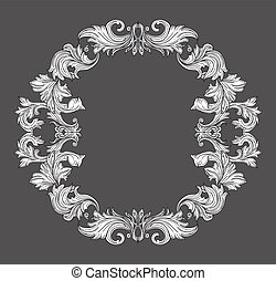 Vintage baroque frame border with leaf scroll floral ornament in line style