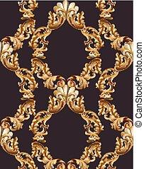 Vintage baroque frame decor. Detailed 3d realistic ornament vector illustration