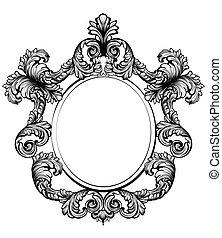 Vintage baroque frame decor. Detailed rich ornament vector...