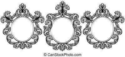 Vintage baroque frame decor set collection. Detailed ornament vector illustration