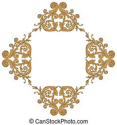 Vintage baroque frame engraving scroll ornament