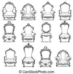 Vintage Baroque luxury style armchairs furniture set collection. French Luxury rich carved ornaments decoration. Vector Victorian exquisite Style furniture