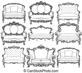 Vintage Baroque luxury style armchairs furniture set...