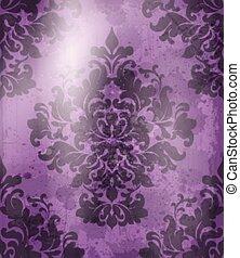 Vintage Baroque pattern background Vector. Ornamented texture luxury design. Royal textile decor violet colors