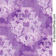 Vintage Baroque seamless texture pattern Vector. Wallpaper ornament decor. Textile, fabric, tiles. Violet colors