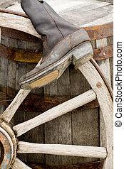 vintage barrel and wheel close up shot