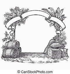 Vintage barrel engraving, ephemeral vector illustration