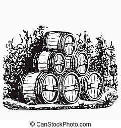 Vintage barrel engraving, ephemeral vector illustration