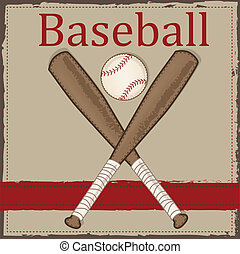 Vintage baseball and wooden bat layout for scrapbooking,...