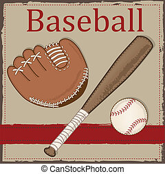 Vintage baseball, glove or mitt and wooden bat