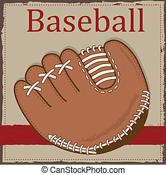 Vintage baseball glove or mitt layout