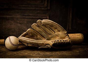 Vintage baseball gloves and ball