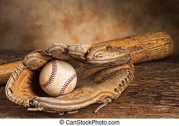 Vintage baseball memories - Old baseball bat with ball and...