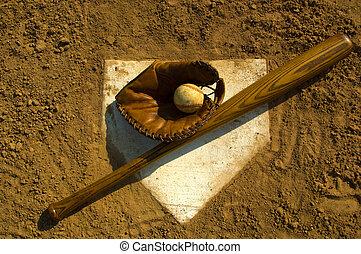 Vintage baseball on base - Vintage baseball with bat on home...