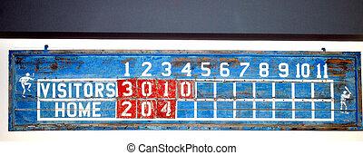 Vintage baseball scoreboard.