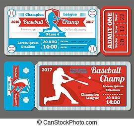 Vintage baseball, sports vector tickets set