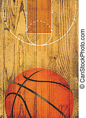 Vintage Basketball Hardwood Floor Background - A basketball...