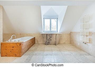 Vintage bathroom in the attic