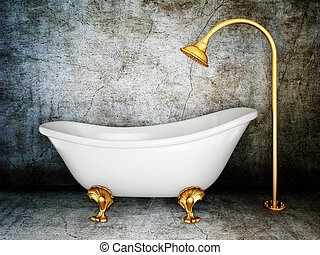 bathtub - vintage bathtub in room with grunge wall