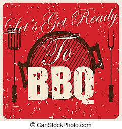 Vintage BBQ card, vector
