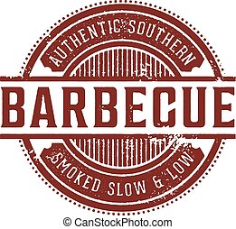 Vintage BBQ Restaurant Stamp