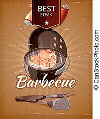 Vintage BBQ vector poster