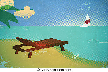 Vintage beach card - Halftone printed vintage card with...