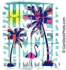 Vintage Beach poster. Vector background.