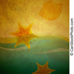 vintage beach sand and wave background with seastar and shell