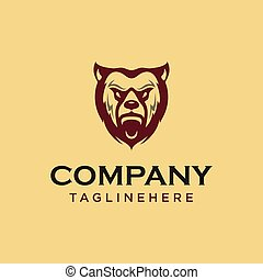 Vintage bear face mascot emblem symbols. Can be used for T-shirts print, labels, badges, stickers, logotypes vector illustration.