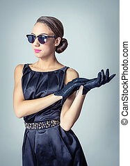 Vintage beautiful fashion girl with sunglasses