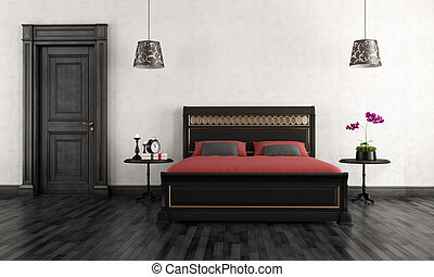 Vintage Bedroom - Black and white vintage bedroom -...