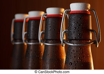 Vintage beer bottles with swing top macro