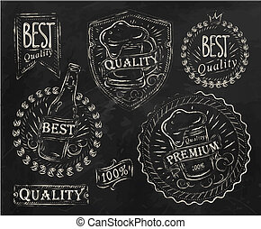 Vintage beer elements chalk - Vintage print design elements...