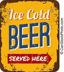 Vintage Beer Tin Sign - Vintage metal sign 'Ice Cold Beer ...