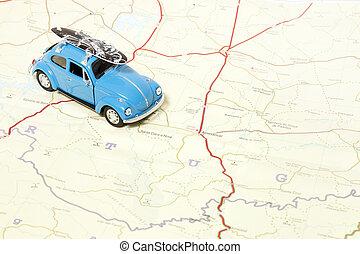 vintage beetle on a map