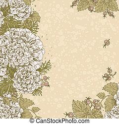 Vintage beige background of flowers