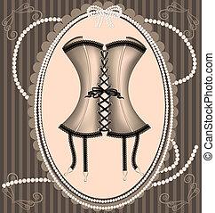 vintage beige corset - on a vintage background is a beige...