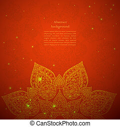 Vintage beige doodle ornament in Indian style background