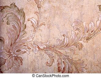 Vintage beige shabby wallpaper with vignette victorian...