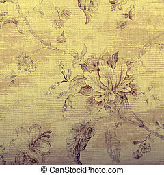 vintage beige wallpaper with shabby chic floral pattern,...