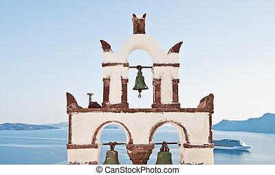 Vintage belfry in Oia, Santorini, Greece