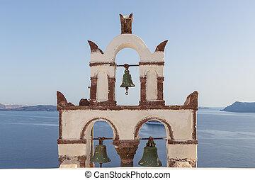 Vintage belfry in Oia, Santorini