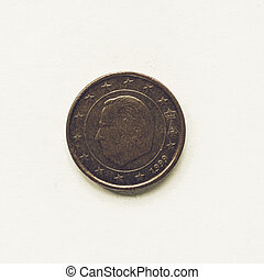 Vintage Belgian 1 cent coin - Vintage looking Currency of...
